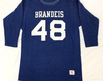 1960s 1970s Brandeis University Champion brand football jersey tag size XL, looks Large blue white 48 rayon blend single stitch made in USA