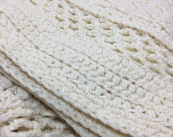 vintage hand knit Irish wool blanket 64x45 inch off white ivory color thick chunky cable knit