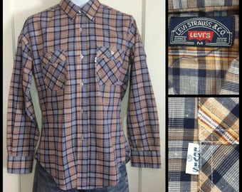 1970's Levi's Blue Brown Plaid Shirt size Medium Tapered Fit White Tab made in USA textured light weight permanent press