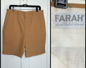 Vintage 1960's Plain Burmuda Shorts size 34 inch waist flat front Gold Mustard Yellow Skate Punk Grunge Farah