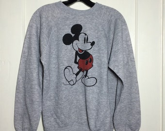 1970's Mickey Mouse Disney Casuals Heather Gray Pullover Sweatshirt looks size medium Character Tri Blend