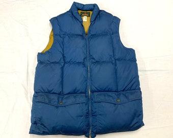 1960s Eddie Bauer Down Blizzard Proof puffer vest size large dark blue light brown ski trucker camping sherpa