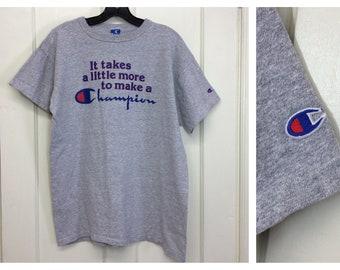 1990s Champion brand logo heather gray t-shirt size XL 21x26 made in USA sports gym cotton rayon single stitch