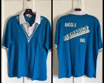 Vintage 1960's Hilton Bowling Shirt size Medium Angola, Indiana Permabilt Manufactured Homes Blue White