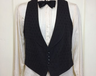 antique 1920s 1930s formal black tuxedo waistcoat vest with lapel buckle back looks size small 37 inch chest Edwardian Victorian brocade