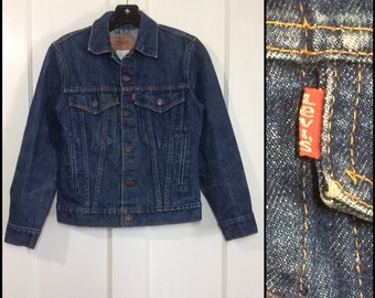 1980s Levi's dark wash denim blue jean jacket 4 Pocket size youth 14 slim fit #1938