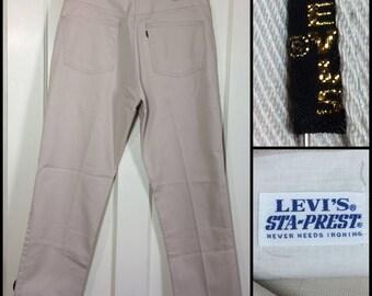 Vintage 1960's LEVI'S gold Big E black tab Peg Leg White Sta-Prest Jeans Pants Ivy League Slacks 32X27 Floods high waters preppy mod #311