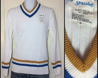 deadstock 1980's Spalding Tennis sweater striped V-neck white blue mustard yellow rib knit NWT NOS size Large made in USA