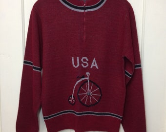 1970s half zip high wheeler bicycle USA picture novelty intarsia knit sweater size large, looks small burgundy blue striped cuffs Towncraft