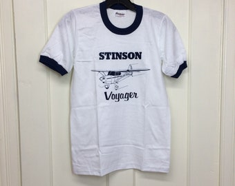 deadstock 1980s Stinson Voyager small airplane t-shirt size youth 14-16 15x23.5 pilot aircraft white ringer tee Stedman made in USA NOS