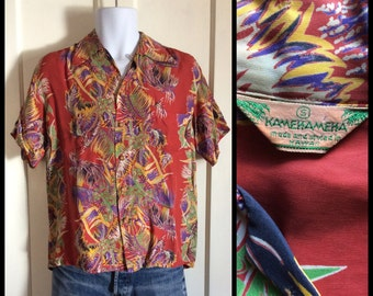 1950's Kamehameha Hawaiian Shirt Rayon Palm Border Red Tapa Patterned Loop Shirt size Small