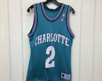 1990s Charlotte Hornets Larry Johnson number 2 NBA Basketball team Champion Jersey Tank size 36 made in USA Turquoise