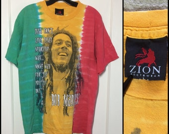 distressed 1990's Bob Marley Reggae Zion Rootswear T-shirt size Large 21x28 faded tie dye stripes Jamaica Green Yellow Red Rasta worn soft