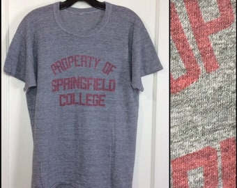 1970s 1980s paper thin Springfield College gym t-shirt looks size large 20.5x25 heather gray red print athletic sports property of