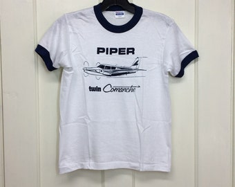 deadstock 1980s Piper Twin Comanche vintage small airplane t-shirt size youth 14-16 15x19 pilot aircraft thin ringer tee made in USA NOS