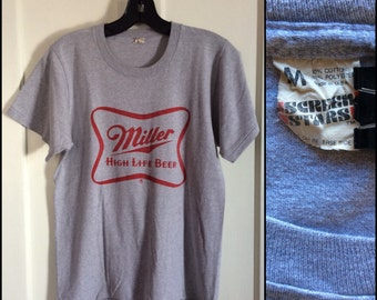 Vintage 1980's Miller High Life Beer logo T-shirt size Medium Heather Gray Screen Stars