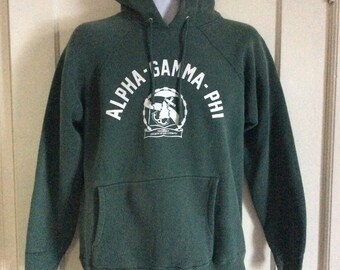 1960s Alpha Gamma Phi College Dark Green thick cotton Hoody Sweatshirt Anchor Tree looks size M to L