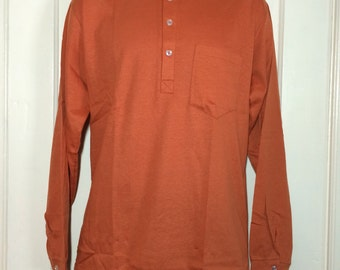 Deadstock 1960's all cotton Nehru Collar Shirt size Large NOS Henley neck Long sleeve t-shirt Rust Brown