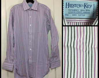 deadstock pin striped french cuffs Hilditch and Key dress shirt size 15.5 medium made in England shell buttons white lavender gray NOS