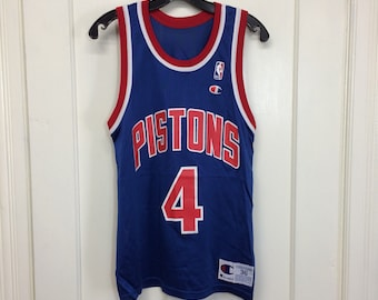 1990s Detroit Pistons Joe Dumars #4 Basketball team Champion Jersey made in USA blue red Tank size 36 NBA number
