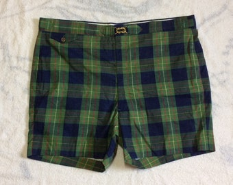 Deadstock 1960s plaid cotton madras surfer swimsuit short shorts swim trunks NWT NOS size 42 green blue preppy Ivy League beach pool party