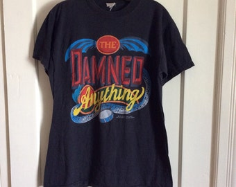 1980s Vintage 1986 the Damned Anything Punk Rock Band T-shirt Large 20x27