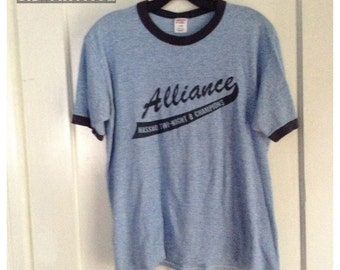 Vintage 1980's Tri Blend Ringer Alliance Heather Blue T-shirt size Large