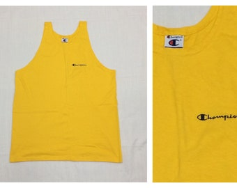 1990s Champion brand tank top with embroidered logo front and back size large bright yellow all cotton sportswear surfer beach