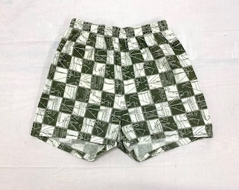 1960s checkerboard sailboat patterned swim trunks size 36-38 by Van Heusen olive green white