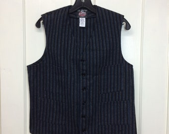 vintage Johnson Woolen Mills wool vest size small button up black gray blue striped made in USA