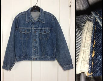 1960's faded blue jean denim jacket great patina looks size medium 2 pocket Union made in USA #1933