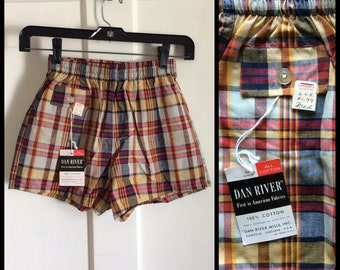 Deadstock Vintage 1950s Surfer Swimsuit Plaid Boxer Short Shorts NWT NOS 26 - 28 inch Waist Boys size Medium #7