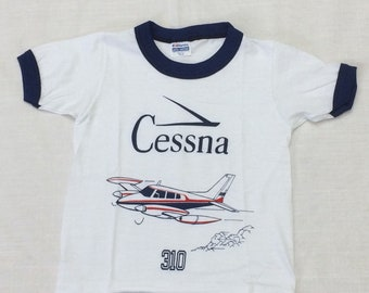 kids deadstock Cessna 310 vintage airplane t-shirt youth girls boys size small 12x15 aviator pilot aircraft ringer tee Hanes made in USA NOS