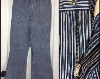 Deadstock 1960s Vintage Wrangler Hondo 31x30 Hickory Striped blue white Bell Bottom flare boyfriend Jeans NOS nwt #302
