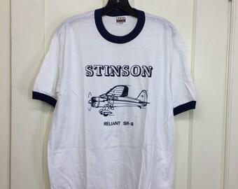 deadstock 1980s Stinson Reliant SR-9 small airplane t-shirt size large 20x26 pilot aircraft thin white blue ringer Hanes made in USA NOS