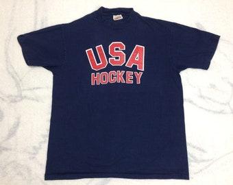 1970s 80s team USA Hockey t-shirt size XL 21x26 Hanes Heavyweight single stitch soft cotton American sports