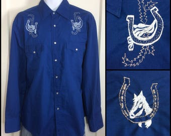 1970's royal Blue with lucky horseshoe and horse metallic silver embroidered yoke Cowboy Western snap Shirt size Large by BJ-R