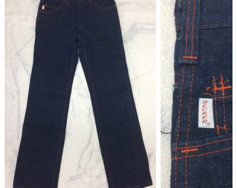 1970s one wash indigo blue jeans by Becker measures size 29x34 extra long tall orange stitching low rise hip hugger straight leg work jeans