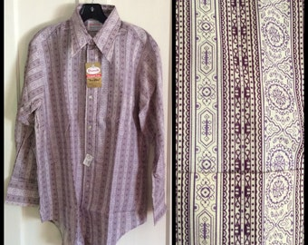 Vintage 1970's Deadstock Rococo Patterned Purple White Paisley Striped Permanent Press Shirt size Large NOS NWT