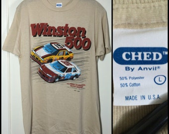 Vintage Deadstock 1988 Winston 500 Hot Rod Race Stock Car Drag Racing T-shirt size Large 18.5x27.5 tan 1980's made in USA NOS Pontiac