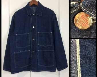 1920s 1930s Clipper brand indigo blue denim chore jacket looks size large 23x26 selvedge double stitch WW2 era #1941