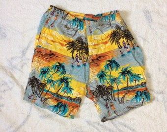 1980s does 50s rayon Hawaiian scene tropical surfer board shorts swim trunks size medium by OP Ocean Pacific beach musicians hula dancers