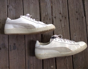 1980s White Leather Puma Defeater Sneakers Shoes Kicks size 12