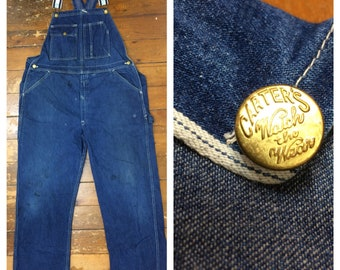 1970s worked in indigo blue denim jeans Carters Watch the Wear overalls measures 42x31 Union Made in USA selvedge Talon zipper distressed