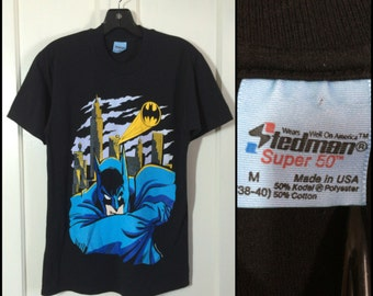 Vintage 1989 Batman Gotham City black T-shirt size Medium 18x26 DC Comics barely used