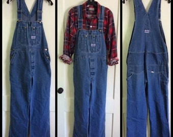 Vintage 1970s Big Smith Denim Carpenter Overalls size 32 x 30 made in USA