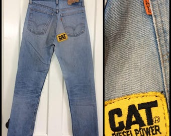 distressed faded Levi's 505 straight denim blue jeans 31x32 measures 30x31 orange tab Talon zipper made in USA Cat Deisel Power patch #341