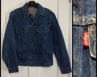 1970s Levis 2 pocket dark wash denim blue jean jacket boy's youth size 18 made in USA slim fit single stitch red tab XS #1921