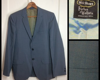 Vintage 1960's Sharkskin Sport Suit Jacket coat looks size Medium 2 tone slight shimmer Blue Gray muted gold yellow Union made 1414 shops