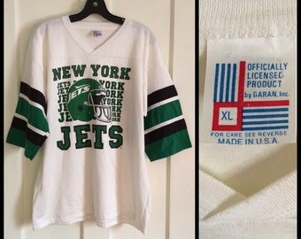 Deadstock Vintage 1980's New York Jets NFL football team Jersey t-shirt size XL nos Mint